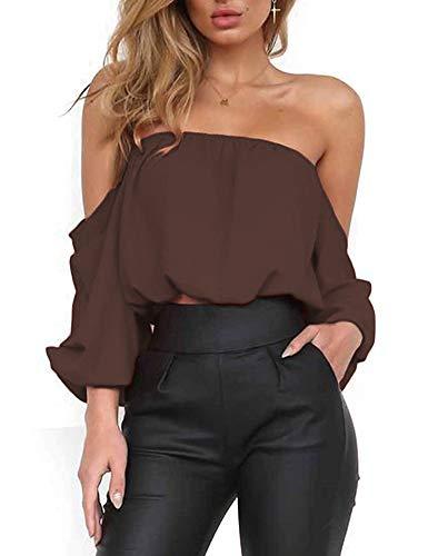 (Women's Summer Long Sleeve Tube Blouse Chiffon Crop Top Short Blouses Shirts XL)