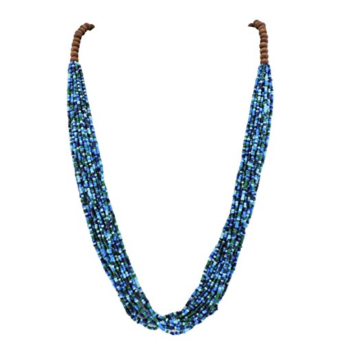 Bocar Long Multiple Row Handmade Beaded Statement Necklace with Gift Box (NK-10407-blue)