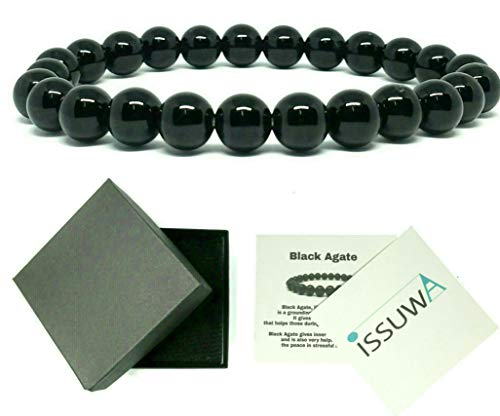 ISSUWA Natural Stone 8mm Gemstone Beaded Adjustable Stretch Bracelet Mens Women 7 inches Meaning Card (Black Agate)