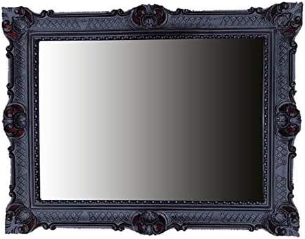 Barocco Nero Antico 42x53 cm Rococo Specchio in Stile Shabby Chic Fatto a Mano Legno Massello