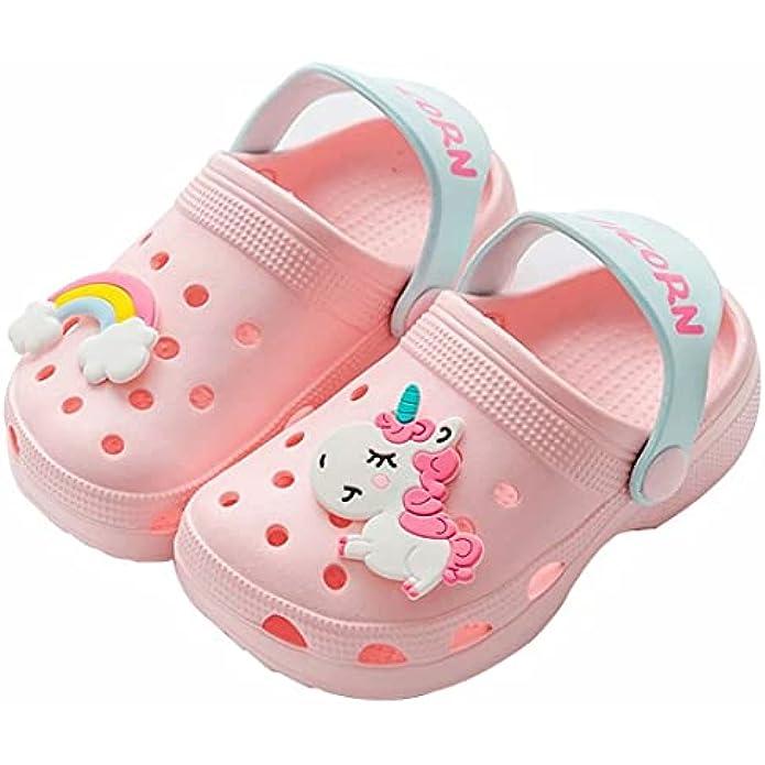 PCBSGQLz Unicorn Cartoon Children's Classic Wooden Cartoon, Light Garden Shoes, Sandals, Beach Swimming Pool Shower Slippers, Summer Toddler Boys, Girls, Water ski Shoes