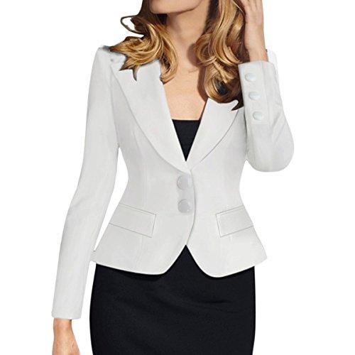 E.JAN1ST Women's Slim Fit Blazer Lapel Collar Two Button Slim Short Cotton Blazer, White, ()
