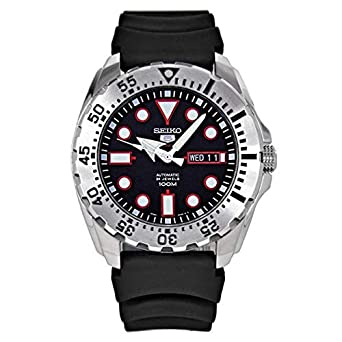 Seiko Diver Automatic Black Dial Black Rubber Mens Watch SRP601 by Seiko Watches