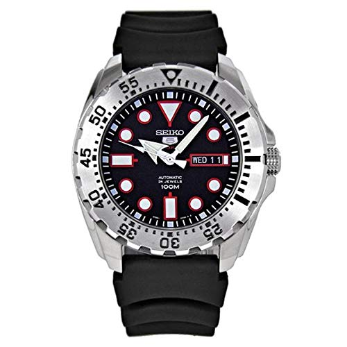 Seiko Diver Automatic Black Dial Black Rubber Mens Watch SRP601 by Seiko - Seiko Black Monster Automatic