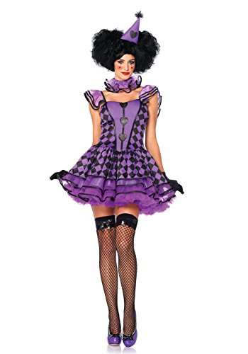 Leg Avenue Women's 3 Piece Pretty Parisian Clown Costume, Black/Purple, (Sexy Frog Costumes)