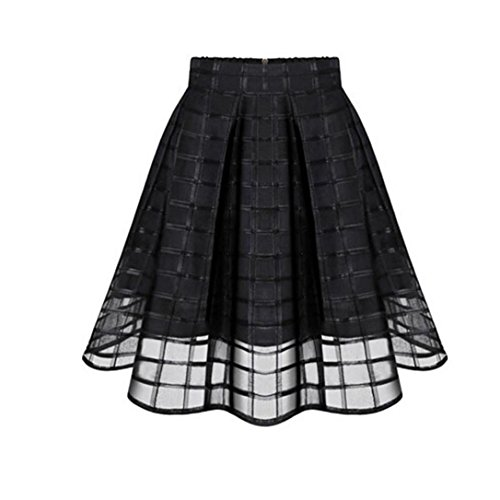 CocoMarket Women Basic Solid Flared Mini Skater Skirt Organza Skirts High Waist Zipper Ladies Tulle Skirt (Black, L)