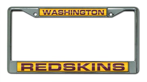 Rico Industries NFL Washington Redskins Laser Cut Inlaid Standard Chrome License Plate Frame (Laser Redskins Plate Washington License)