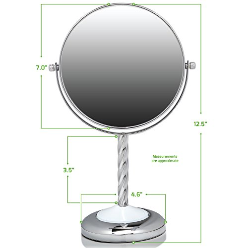 Ovente Round Tabletop Vanity Mirror, 7 Inch, Dual-Sided with 1x/5x magnification, Chrome-Plated Iron, Chrome (MNLBT70CH1X5X) by Ovente (Image #8)