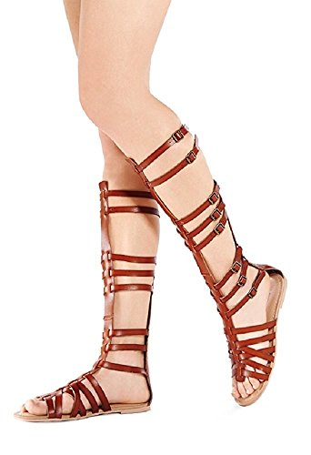 StyleUpGirl Monica-1 Knee High Gladiator Sandals Marcelino Black Brown Knee,Brown(Cognac),10 (Sandals Over The Knee Gladiator)