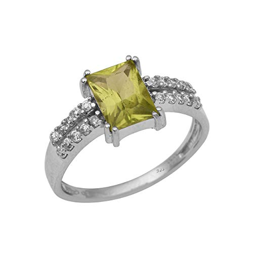 Shine Jewel Royal Looking 8x6mm Octagon Peridot With 1.5mm Round White Topaz Gemstone 92.5 Silver Ring