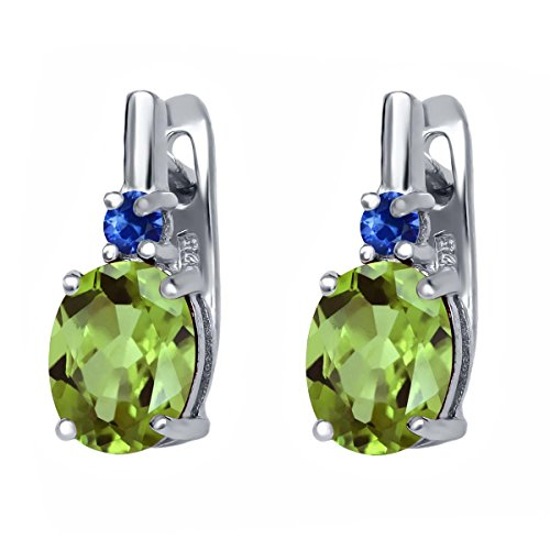 Gem Stone King 2.86 Ct Oval Green Peridot Blue Sapphire 925 Sterling Silver Women's Earrings