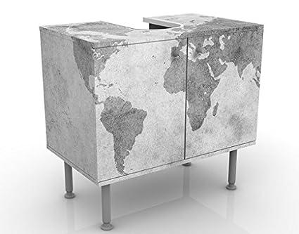Apalis Design Vanity vintage Worldmap II 60x 55x 35cm, piccolo, largo 60cm, regolabile, lavandino, lavabo, rubinetto per lavabo da bagno, armadio, unità di base, bagno, narrow, Flat 53535