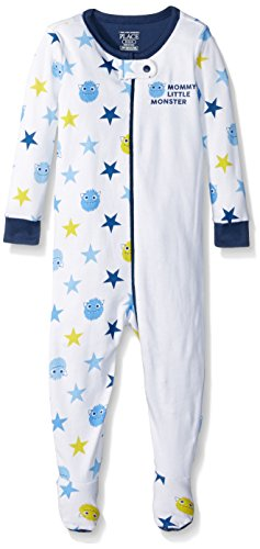 The Children's Place Baby Boys His Little Stretchie Pajamas, Mom's Monster (White), 18-24 Months
