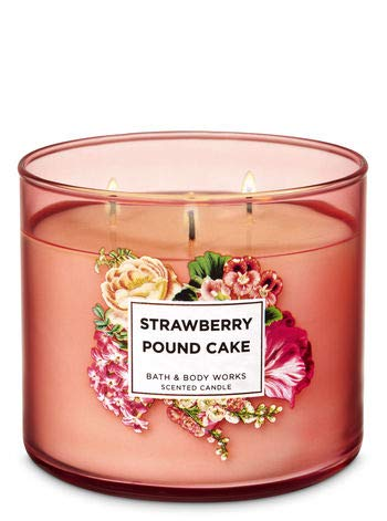 (Bath and Body Works White Barn Strawberry pound Cake 3 Wick Candle 14.5 Ounce )