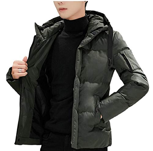 Men's Puffy Padded Front Coats Zip Quilted Hooded Jackets Green Cotton security SxwTfx