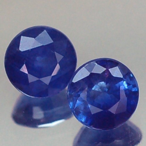 1.01ct Awesome Aa Pair Round 4.5mm Thailand Heated Only Blue Sapphire - Heated Round Blue Sapphire