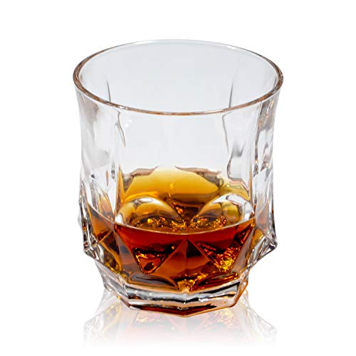 GLASKEY Whisky Glass Set of 4, Lead Free Crystal Old Fashioned Glass, Cocktail Cool Rocks Glass Tumbler for Bourbon, Irish Whisky, Brandy and More, Scotch Glasses (Clear - 11) (Glass Milk Stones)