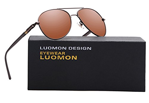LUOMON MB209 Brown Frame/Brown Lens Polarized Aviator - Best Faces Sunglasses For Round Aviator