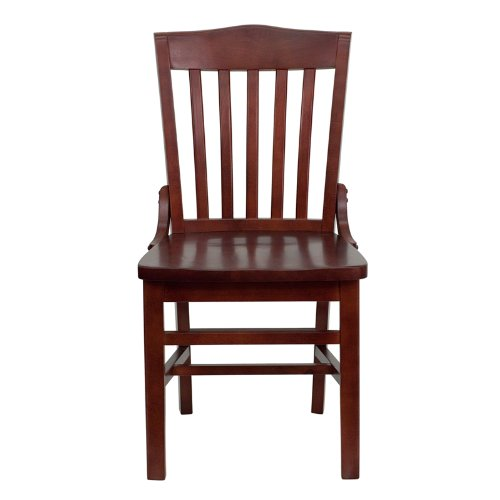 HERCULES Series Mahogany Finished School House Back Wooden Restaurant Chair