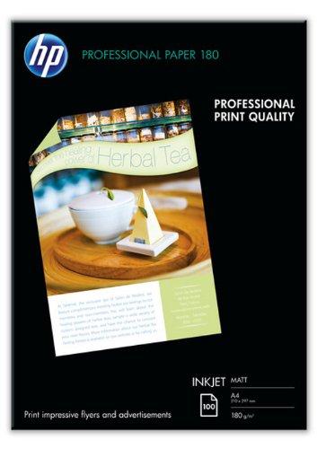 HP Q6592A Professional Inkjet-Papier matt (beidseitig beschichtet) 180g/m2 A4 100 Blatt, weiß