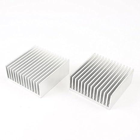 uxcell 2Pcs 40mm x 40mm x 11mm Aluminum Heatsink Heat Diffuse Cooling Fin Silver Tone