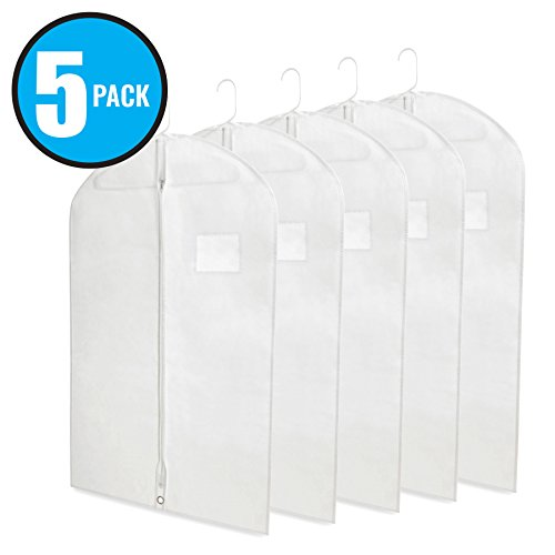 """Breathable 40"""" White Garment Bags for Storage of Suits or Dresses with Zipper & Transparent Window (Pack of 5)"""