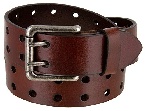 (Drake Full Grain Casual Leather Two Holes Belts 1 1/2