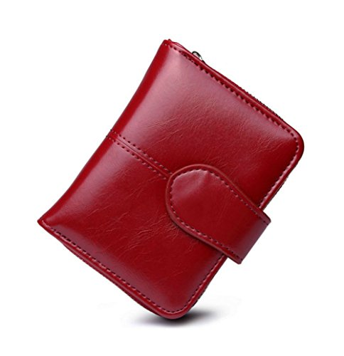 Womens Waxed Leather Short Wallet Small Coin Lady Purses Credit Card Holder Case Bifold Vintage Wallet with Zipper (Red)