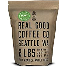 Real Good Coffee Co 2LB, Whole Bean Coffee, USDA Certified Organic Dark Roast, 2 Pound Bag