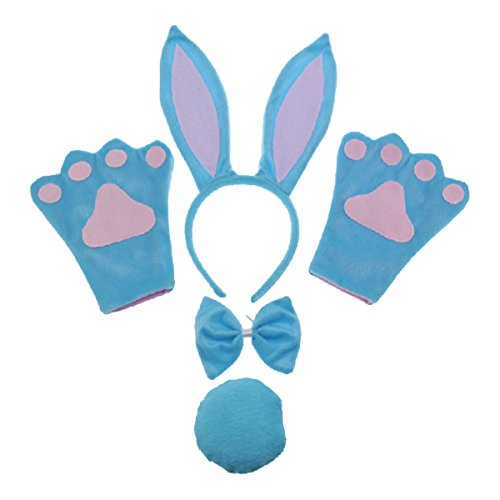 Bunny Ears Headband, Tail and Bow Tie Gloves Set; Blue Rabbit for Easter Halloween