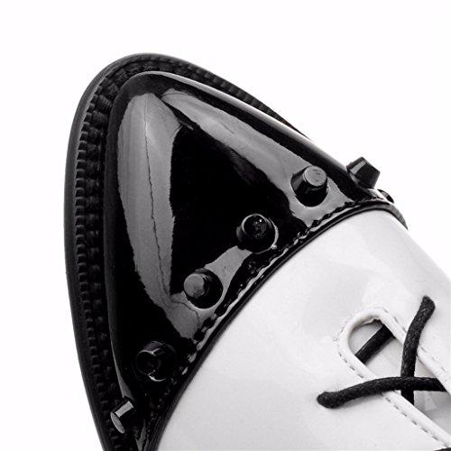 Odetina De Mujer De Charol Puntiagudo Patchwork Con Cordones Tacón Medio Remaches Tachonado Oxfords Bombas Negro