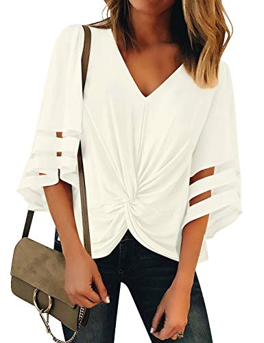 (Vetinee Women's Beige Ruched Twist Tops 3/4 Bell Sleeve Shirt Mesh Panel V Neck Casual Loose Blouse X-Large (US 16-18))