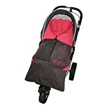 ByBUM - Footmuff 2 in 1 for Spring, Summer and Autumn/Fall; Universal for infant and child car seats, eg; Maxi-Cosi, for a pushchair/stroller or buggy; ANTHRACITE/RED by ByBoom