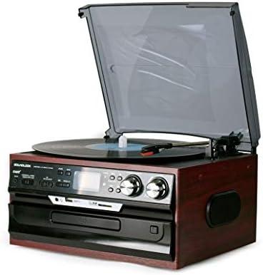 ALIZJJ CD、カセット、ラジオ、およびUSB/SDカードオーディオ音楽プレーヤーのギフトやカフェレストラン音楽プレイ用のアンプを内蔵したBluetoothのレコードプレーヤーターンテーブル (Color : Brown)