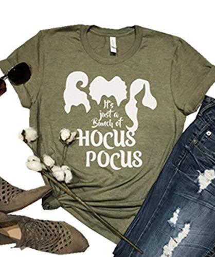Its Just A Bunch of Hocus Pocus Halloween Shirt Women Short Sleeve Funny Sanderson Sisters Halloween Tops Tees
