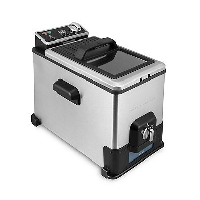 4-Liter Digital Deep Fryer in Black, Unique Oil Filtration System, Adjustable Temperature Up to 375F, Comes with 3-basket system with 2 Small and 1 Large
