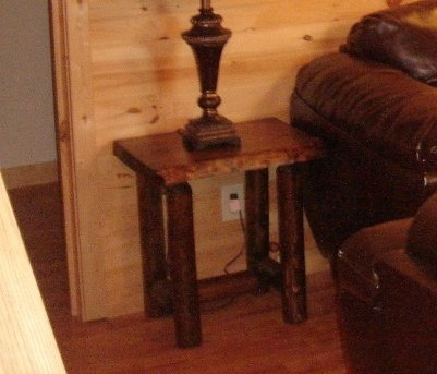 Rustic Log End Table Pine and Cedar (Honey Pine)