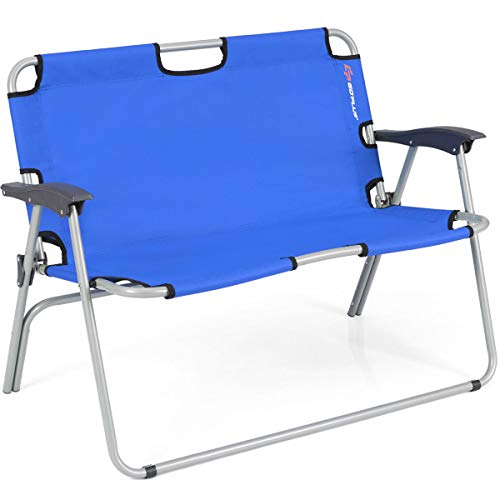 Goplus Folding Loveseat Camping Chair Outdoor 2-Person Beach Seat Steel Frame Portable Double Chair, Sport Couch (Blue) (Person Two Beach Chair)