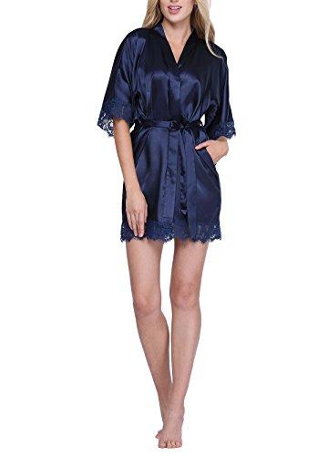 Original Kimono Women's Lace-Trimmed Satin Short Kimono Robe Bathrobe Loungewear Navy XL