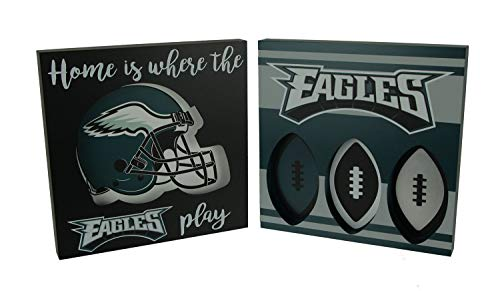 Maurice Sporting Goods NFL Philadelphia Eagles Cut Out Helmet and Football Shapes Wall Hangings
