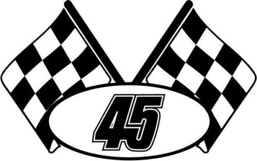 Checkered Flag Nascar Racing Number 45 Graphic Car Truck Window Decal Sticker - Die cut vinyl decal for windows, cars, trucks, tool boxes, laptops, MacBook - virtually any hard, smooth - Racing Checkered Nascar Flag