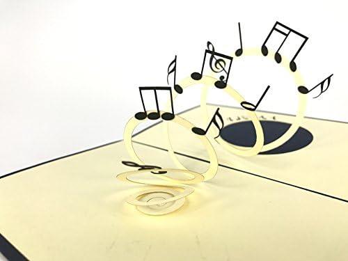 Tarjeta de felicitación 3D con notas musicales, hecha a mano, para ...