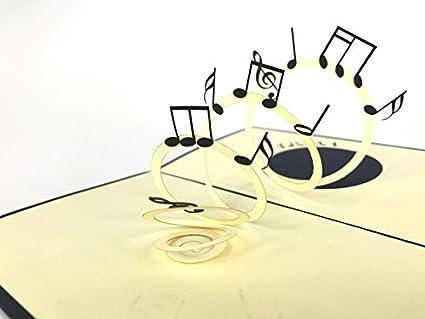 Tarjeta de felicitación 3D con notas musicales, hecha a mano ...