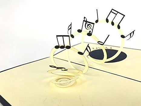 Música notas (oscuro azul portada) Pop-up Tarjeta: Amazon.es ...