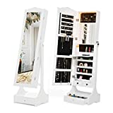 Mecor Mirror with Storage,LED Standing Full Length Mirror Jewelry Cabinet Armoire,Lockable Jewelry Organizer Large Bottom Drawer Base,2 Smaller Drawers,1 Built-in Mirror,3 Adjustable Angle White