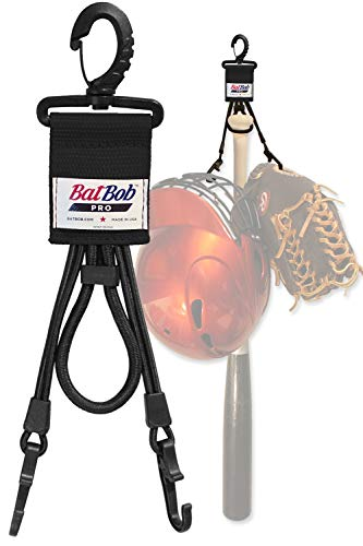 BatBob Pro - Dugout Gear Hanger - The Dugout Organizer - for Baseball and Softball to Hold Bats, Helmets and Gloves (Black)