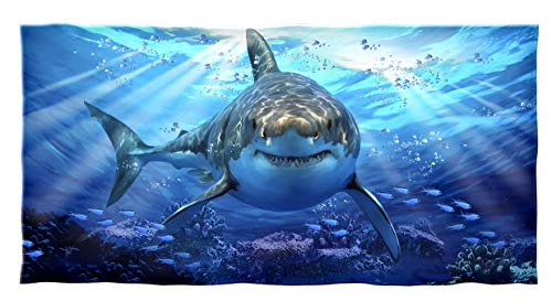 Dawhud Direct Cotton Beach Towel (Great White Shark) -