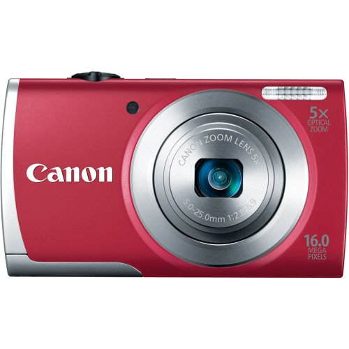 (Canon PowerShot A2500 16MP Digital Camera with 5x Optical Image Stabilized Zoom with 2.7-Inch LCD (Red) )
