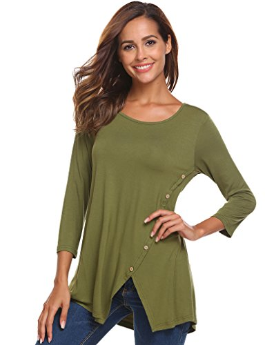 Long 3/4 Sleeve Tee (Halife Ladies 3 4 Sleeve Split Hemline Stretchy T-Shirt Blouse Tops With Buttons Army Green Medium)
