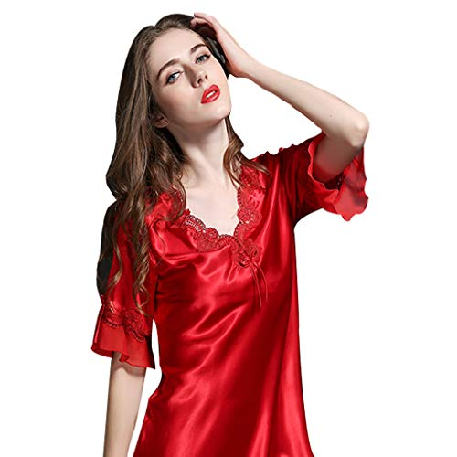 Seda 'red Sg color Pijamas Manga Size Y Lencería Bordado Nighwear Señoras Camisones Corta Ahuecado Red De Pieza Red Una Esposa Femaless wq7IBcW1